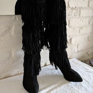 Chinese Laundry Chance OTK black fringe boots